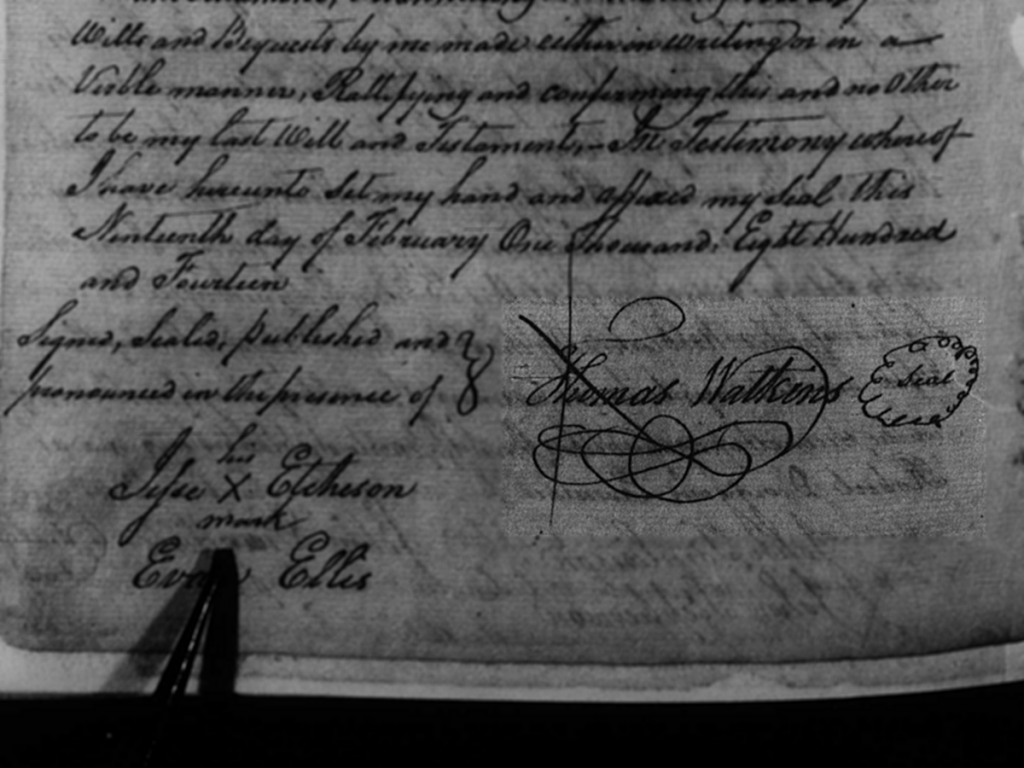 Thomas Watkins Signature on his will in 1814