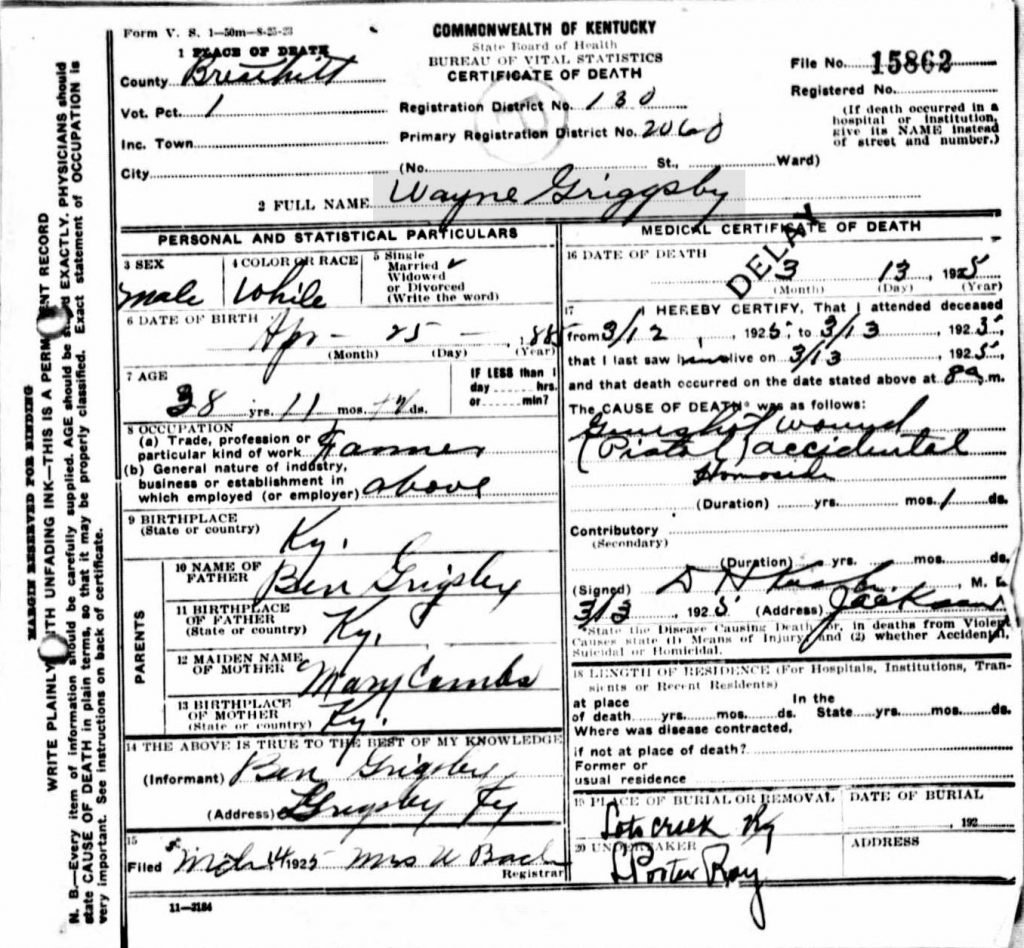 Death Certificate for Wayne Grigsby (Ancestry.Com)