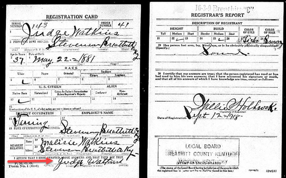 Judge Watkins WWI Draft Card that shows birthdate, wife's name, and his physical description.